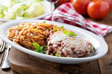 Veal Parmigiana with spaghetti