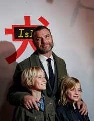 Cast member Liev Schreiber arrives with his sons for a screening of 'Isle of Dogs' in New York