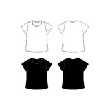 Set Of Blank T Shirt Design Template Hand Drawn Vector Illustration Front And Back
