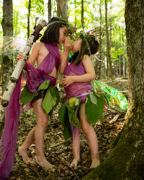 Sisters dressed as Fairies in the Forest 2