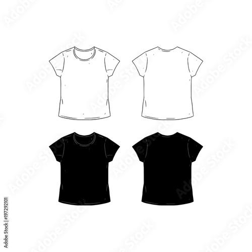 Set Of Blank Tshirt Design Template Hand Drawn Vector Illustration - T shirt artwork template
