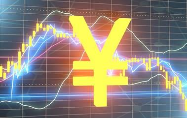 Forex candlestick pattern. Trading chart concept. Financial market chart. Japanese yen neon shine symbol. 3D rendering