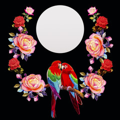 Painting  of roses flowers and  Macaw bird.