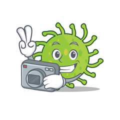Photographer green bacteria mascot cartoon