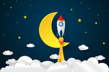 Rocket launch flying, half moon, clouds and stars in the night as paper art and craft style concept. vector illustrator.