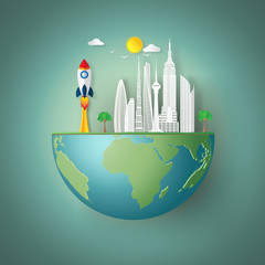 Eco buildings cityscape and rocket launch on green hemisphere world as nature, saving, earth day, start up and paper art style concept. vector illustration.