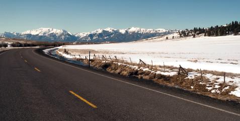 Wall Mural - Roaad Curves Towards The Wallowa Mountains Joseph Oregon USA