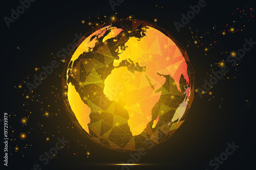 Yellow gold global network connection gold world map hexagonal yellow gold global network connection gold world map hexagonal polygonal mesh and line as business gumiabroncs Gallery