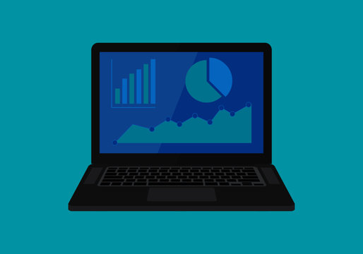 Laptop showing business data, accounting, metrics and research vector