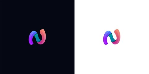 letter N logo template. abstract colorful logo template illustration