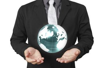 Globe ,earth in human hand Earth image provided by Nasa
