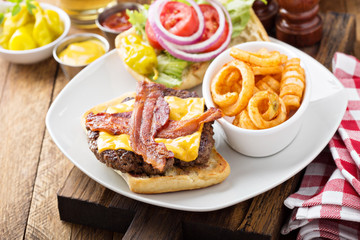 Traditional american burger with cheese and bacon