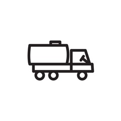 fuel truck, fuel transport outlined vector icon. Modern simple isolated sign. Pixel perfect vector  illustration for logo, website, mobile app and other designs