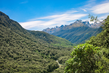 Falls Creek Valley in Fiordland National Park on the way to Milford Sound, New Zealand.