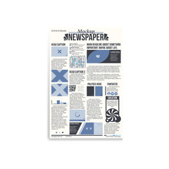 Newspaper main page with blue design and copy space mockup.