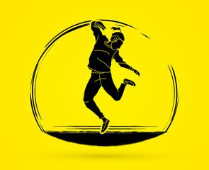 Dancing action, dancer training graphic vector.