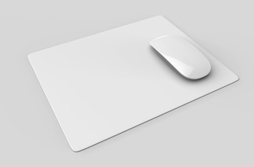 Square Blank mouse pad with computer mouse for branding or design presentation. 3d render illustration.