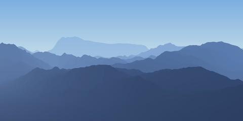 Cold mountain landscape. Foggy day landscape. Vector illustration. Wall mural