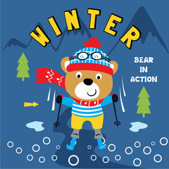 winter fun animal cartoon vector art