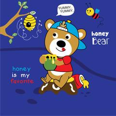 honey bear cartoon vector