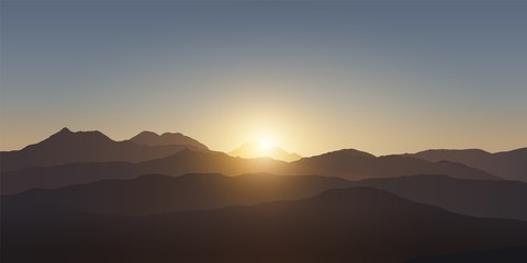Mountain landscape. Sunset in the mountains. Realistic vector illustration.