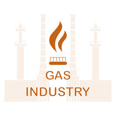 Gas processing plant.Gas burner with flame.
