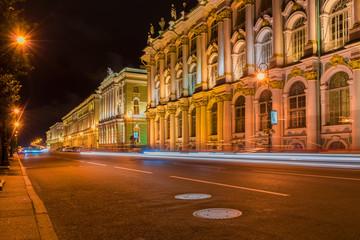 RUSSIA, SAINT PETERSBURG - AUGUST 18, 2017: Winter Palace, Hermitage museum in Saint Petersburg on a summer evening