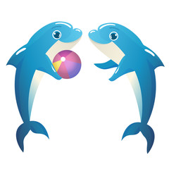 Illustration of Dolphins Playing with a Ball