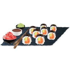Illustration of roll sushi with salmon, prawn, avocado, cream cheese. Sushi menu. Japanese food isolated.