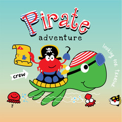 pirate turtle animal cartoon vector