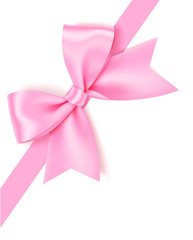 Decorative pink bow with diagonaly ribbon on the corner for page decor. Vector bow isolated on white background