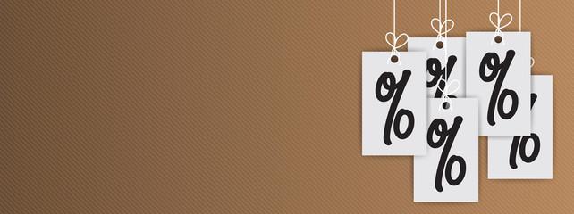 Hanging Price Stickers Sale Header. Hanging percent stickers header. Percent mark hanging concept.