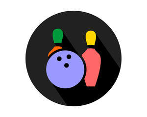 black circle bowling icon sports equipment tool utensil image vector