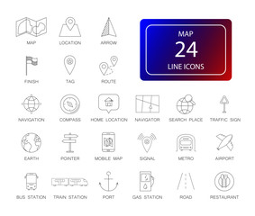 Line icons set. Map pack. Vector illustration