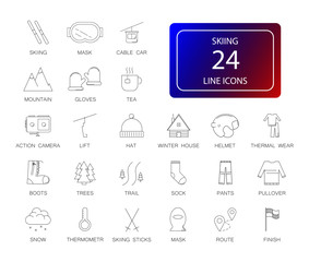 Line icons set. Skiing pack. Vector illustration