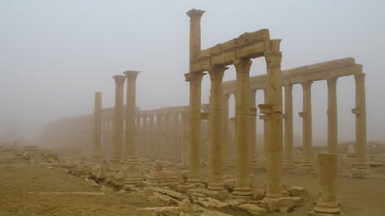 View to Palmyra columns in fog at Syria