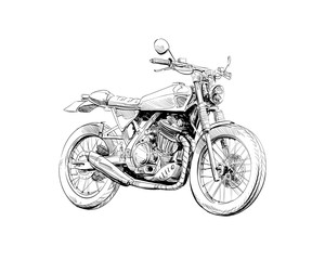Hand drawn sketch classic motorcycle. Vector illustration design concept.