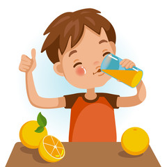 Drinking juice Cute boy in red shirt holding glass of  kid Drinking orange juice. Thumbs up. Emotionally. Healthy concepts and crowth in child cutrition. Vector Illustration Isolated