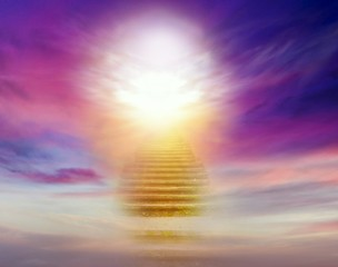 Dramatic nature background .  Sunset or sunrise with clouds, light rays and other atmospheric effect . Light from sky . Religion background . Heavens gate . Stairway to the sky . Way to success
