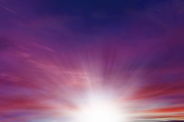 Dramatic nature background .  Sunset or sunrise with clouds, light rays and other atmospheric effect . Light from sky . Religion background .
