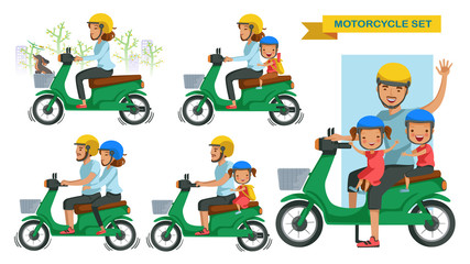 Riding motorcycle set family set. person gestures are driving motorcycles. Couple riding a motorcycle. Drive safely with son and daughter, wear a helmet. Vector illustrations isolate