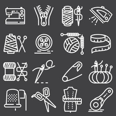 Vector sewing equipment icons set