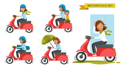 Motorcycle woman riding motorcycle different gestures set. Cartoon character. vector illustration isolated on white background.