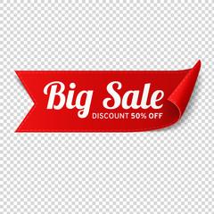 Red, paper banner for big sale. Vector illustration