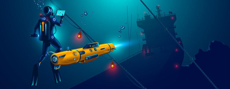 Underwater autonomous robot exploration sea floor. Underwater drone with diver explorat the place shipwreck of ship.