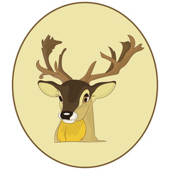 Portrait.The head of a deer in a round frame, cartoon on a white background,