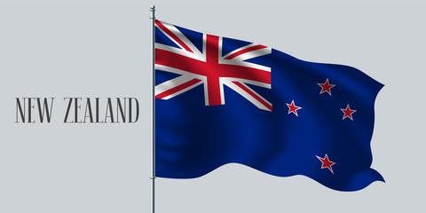 New Zealand waving flag on flagpole vector illustration