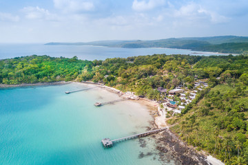"""Aerial view of beautiful tropical beach. it's called """"Bang Bao Bay"""" at Ko Kut or Koh Kood is an island in Trat Province in the Gulf of Thailand."""