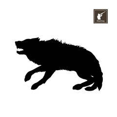 Black silhouette of frightened wolf on white background. Forest animals. Detailed isolated image. Vector illustration