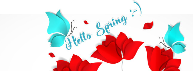 Template banner for social nerwork with place for image. Hello Spring floral 3d vector background with bright red flowers and blue butterflies. Papper-cut style
